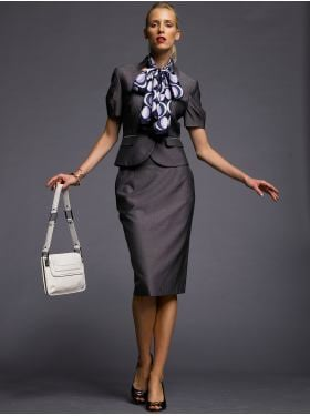 women: BR Monogram short-sleeve suit jacket & gray pencil skirt: BR monogram collection | Banana Republic from bananarepublic.com