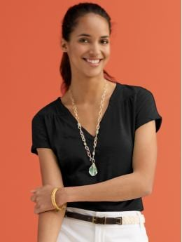 BananaRepublic.com: women: Cotton slit-neck tee: must-have tops from bananarepublic.com