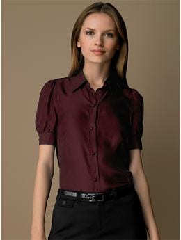 BananaRepublic.com: women: Silk puff-sleeve blouse: jewel-tones: top trends from bananarepublic.com