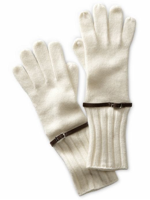 jewelry & accessories: Leather-trim knit glove: gloves: hats & gloves | Banana Republic from bananarepublic.com