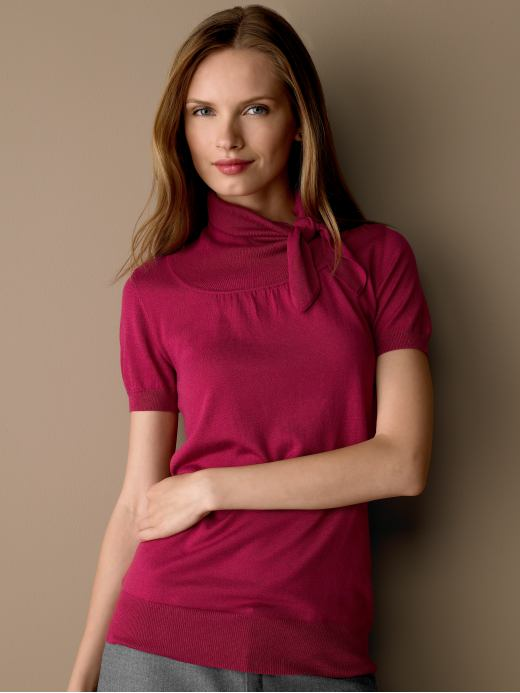 BananaRepublic.com: women: Short-sleeve tie-neck top: turtlenecks: sweaters from bananarepublic.com
