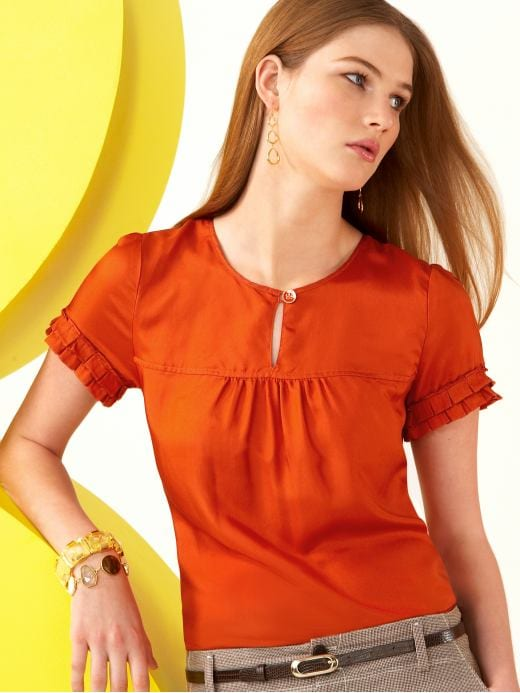 women: Silk ruffle-sleeve top: new arrivals | Banana Republic from bananarepublic.com