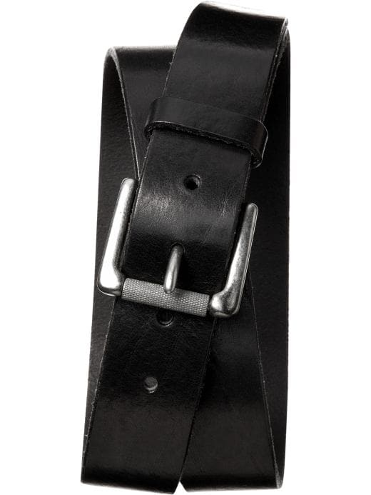 Banana Republic Men's Tumbled Black Leather Belt