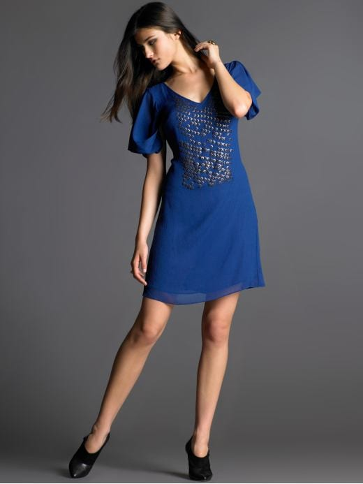 Women's Apparel: Silk metal beaded dress: short sleeve dresses | Banana Republic