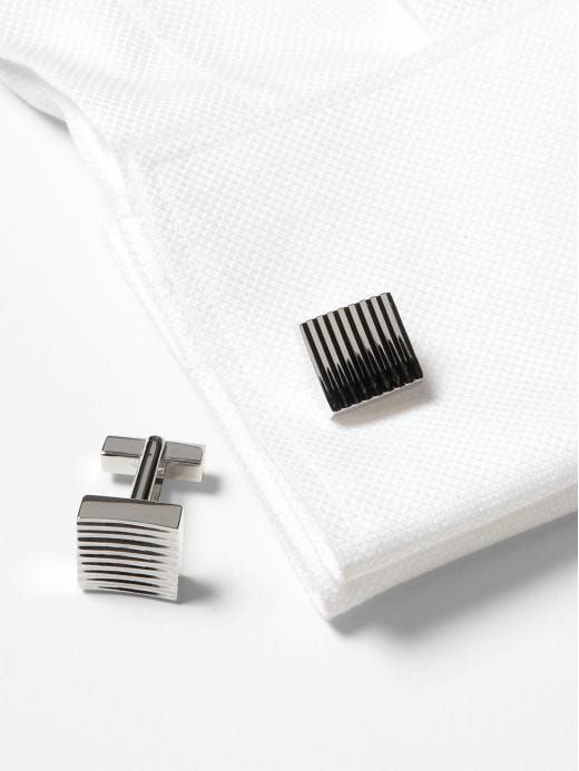 Banana Republic Men's Ridged Silver Chunky Square Cuff Bracelet Links