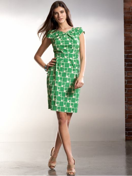 Banana Republic: Geo-print sheath dress :  green dress banana republic