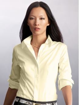 Women: Fitted non-iron shirt - Light citrus