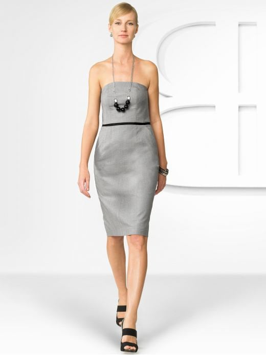 Women's Apparel: BR Monogram strapless dress: monogram dresses | Banana Republic :  fashion banana republic light grey dress