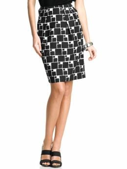 Women: Geo-print tulip skirt - Black combo