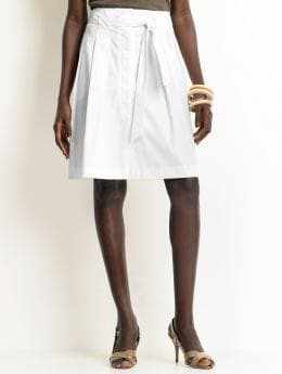 Women: Cotton tie-waist skirt - White