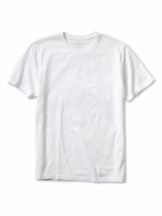 Banana Republic Men's New Pima Cotton Basic White Tee Shirt