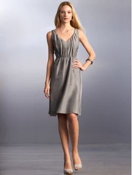 Women: Silk pleated v-neck dress - Shark grey