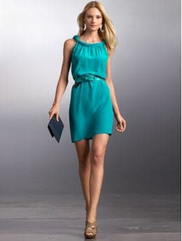 Women: Silk twist-neck dress - Deep teal