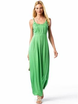 Women's Apparel: Pleated maxi dress: solids dresses | Banana Republic :  fitted at waist spandex clothing green
