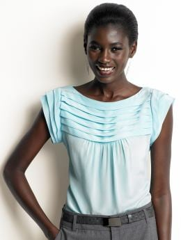 Women's tall: Tall silk pleated top - Fresh blue