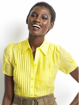 Women's tall: Tall cotton/silk pleated blouse - Canary yellow