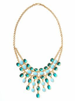 Women: Waterfall bib necklace - Turquoise