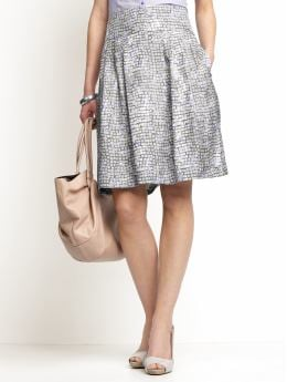 Women: Silk square-print pleated skirt - Shark grey