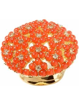 Women: Beaded flowerbed ring - Coral