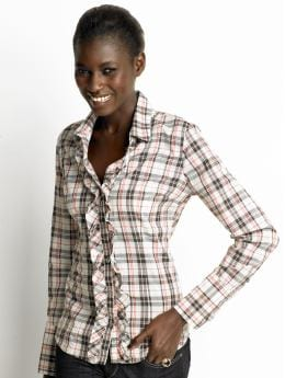 Women: Long-sleeve plaid ruffle shirt - Carob chip