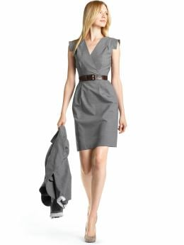 Women: Lightweight wool sheath dress - Charcoal