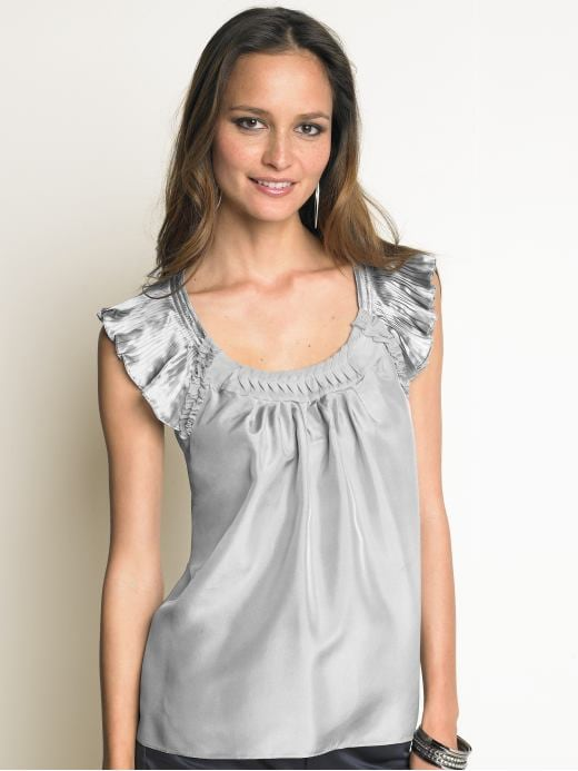 Women's Apparel: Silk ruffle top: short sleeve blouses & shirts | Banana Republic :  loose cap sleeves light grey flutter sleeves