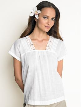 Women's Apparel: Cotton lace-trim blouse: tops sale | Banana Republic :  womens apparel shirt cotton square neck
