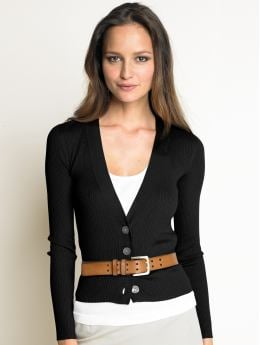 Women: Silk/cotton ribbed v-neck cardigan - Black