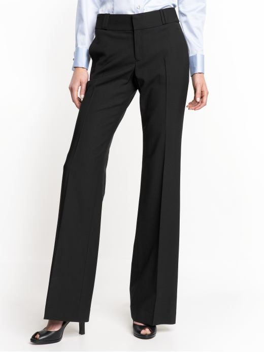 Banana Republic Womens Black Petite 215 Martin Classic Trouser Pant