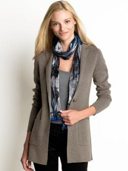 Women: Long pocket cardigan - Rublo taupe