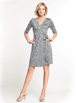 Women: Printed wrap dress - Sculpture grey