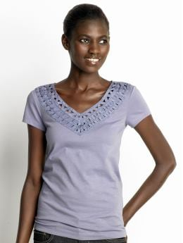 Women: Cotton lattice top - Anchor blue