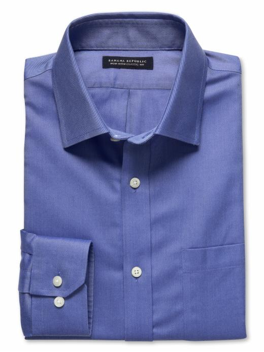 Banana Republic Men's Medium Blue Classic Fit Non-Iron Shirt