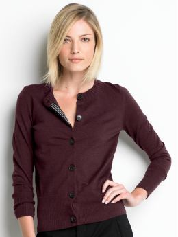 Women: Italian merino cardigan - Autumn burgundy