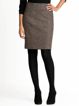 Women: Wool-blend textured pencil skirt - Carob chip
