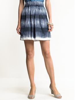 Women: Silk-blend printed skirt - Mountain blue