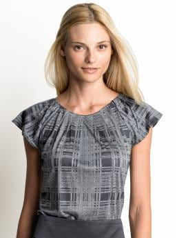 Women: Cap-sleeve printed top - Sidewalk gray
