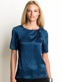 Women's tall: Tall silk short-sleeve printed top - Dark blue