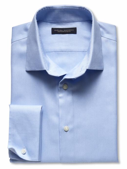Banana Republic Slim Fit French Cuff Bracelet Royal Oxford Shirt - New baby blue