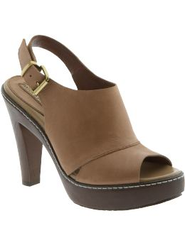 Women: Rosita open-toe high heel clog - Nutmeg