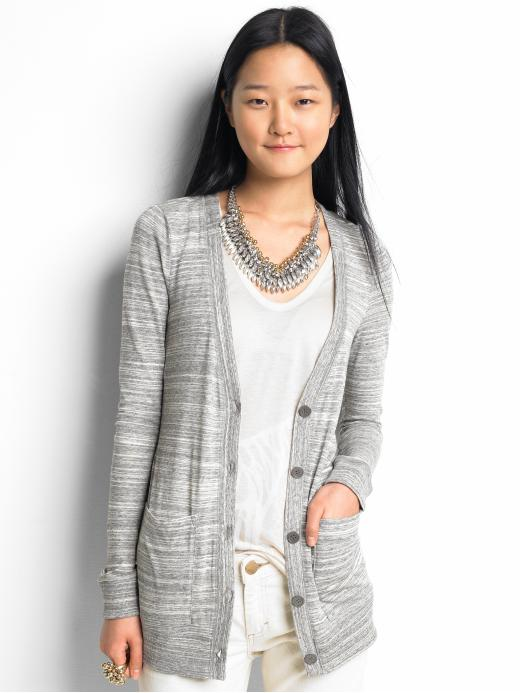 Banana Republic - Abstract Stripe Knit Cardigan :  long sweater outerwear cardigan long cardigan
