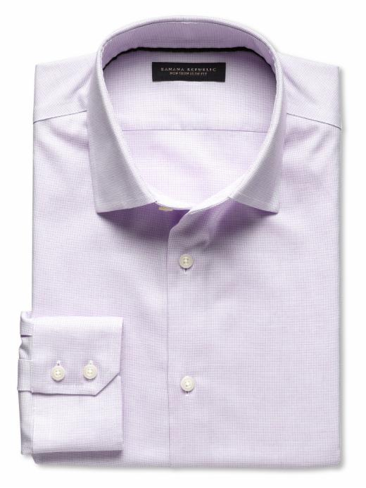 Banana Republic Slim Fit Non Iron Textured Solid Shirt - Lilac