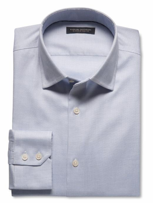 Banana Republic Slim-Fit Non-Iron Textured Solid Shirt - Sky blue