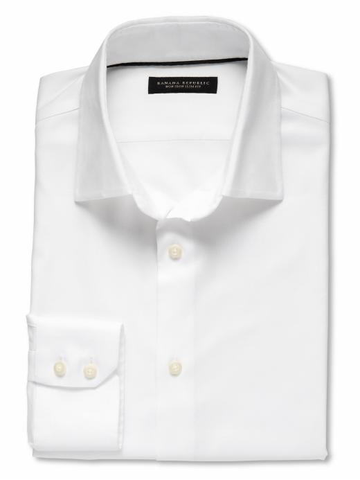 Banana Republic Slim-Fit Non-Iron Textured Solid Shirt - White
