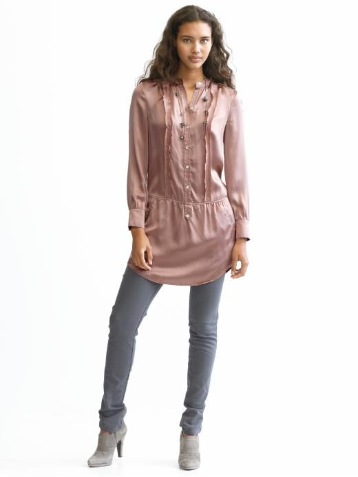 Banana Republic Tall silk ruffle shirtdress