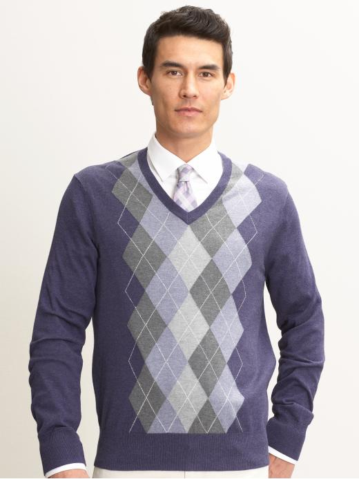 Banana Republic Silk/cotton/cashmere argyle-front sweater