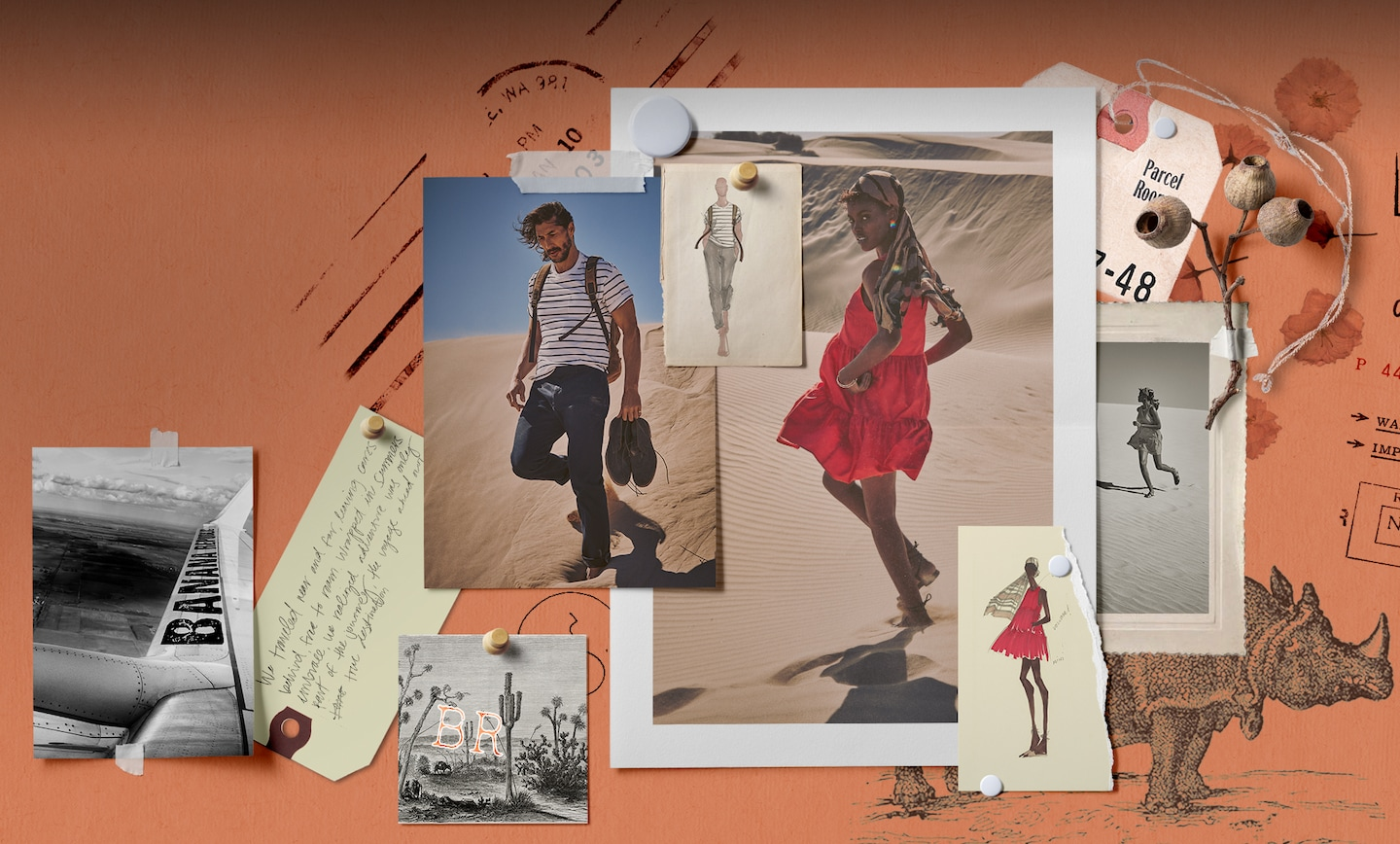 Campaign: Spirit of Adventure. Picture of male model in a dessert landscape wearing a striped short sleeve shirt, dark blue pants with boots in his hand. Picture of female model in a bright red mini dress, strappy sandals and a striped silk scarf wrapped around her hair