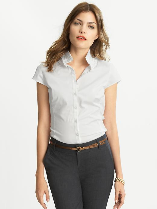Banana Republic Shortsleeve Pleat Neck Blouse