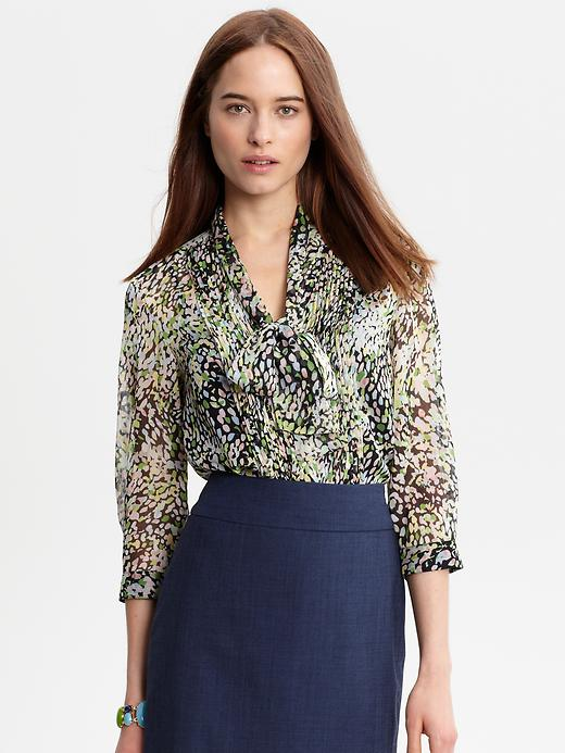 Banana Republic Marta Printed Tie Neck Blouse