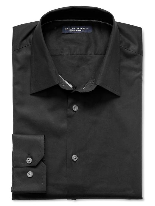 Banana Republic Slim Fit Stretch Poplin Dress Shirt - Black